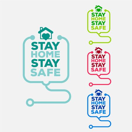 Stay home stay safe symbol in different colors.