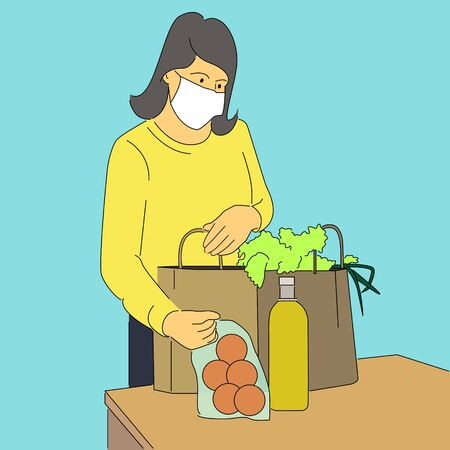 Woman with mask placing groceries on table.