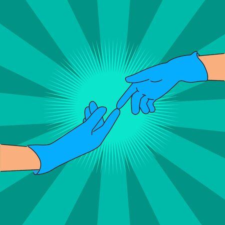Abstract of Hands in gloves Ilustração