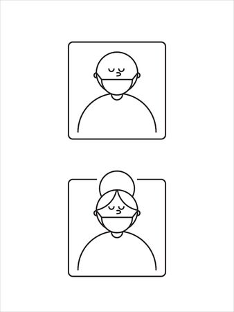 Man and woman in mask symbol.