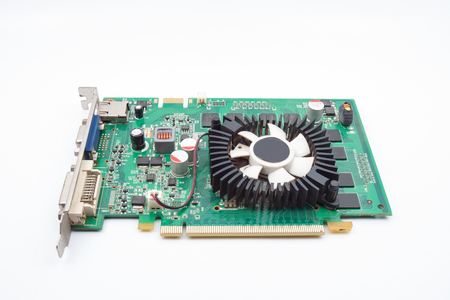pci card: Computer graphic card on white background
