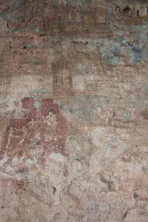 cliff wall paintings over 400 years, loei, thailand.
