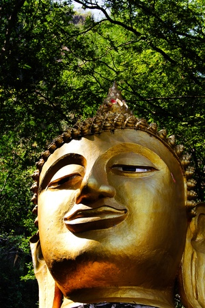 golden head of buddha statue in loei,thailand