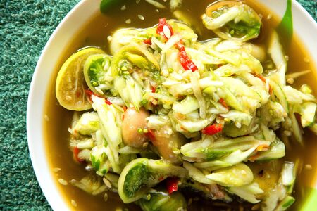 thai green cucumbers  salad hot and spicy mixed from variety of vegetable