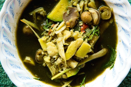 delicious thai curry with mushrooms  and bamboo shoot Stock Photo