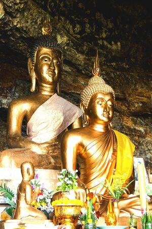 two buddha  in cave in  Loei,Thailand