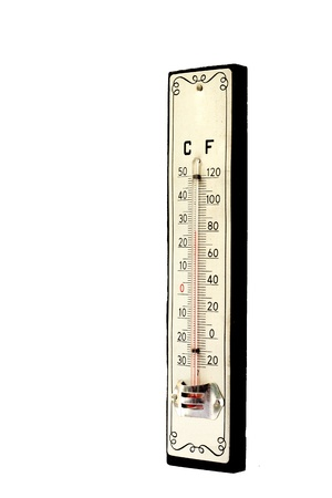 mercurial thermometer scale isolated on the white