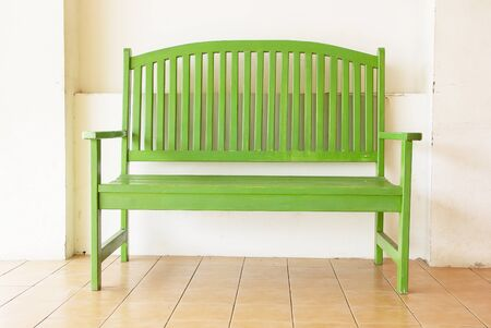 green wooden bench in the house Stock Photo - 13600633