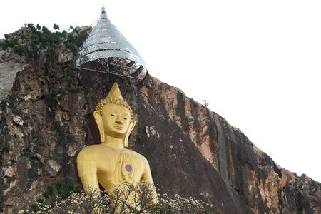 golden buddha carved on the cliff in Ratchaburi province ,Thailand Stock Photo - 13656175