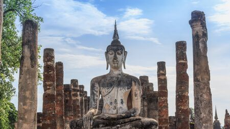 Buddha Statue in Wat Mahathat Temple in Sukhothai Historical park , Thailand