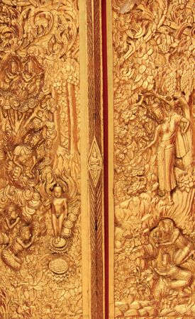 Traditional Thai painting art about  buddhism story on temple wall, Thailand Stock Photo