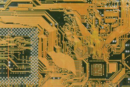 Macro of printed circuit board - computer motherboard photo