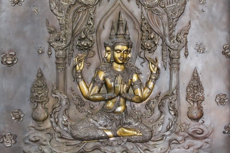 art on metal plate about buddha history at temple in Udonthanee  province, Thailand Stock Photo - 21674308