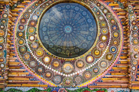 workmanship: abstract bright colorful  background of cup bowl ,art at  temple in Phetchabun  province, Thailand