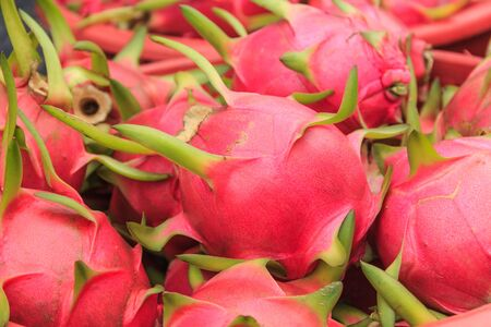Dragon fruit  is fruit and vegetables stand in Southeast Asian market Stock Photo