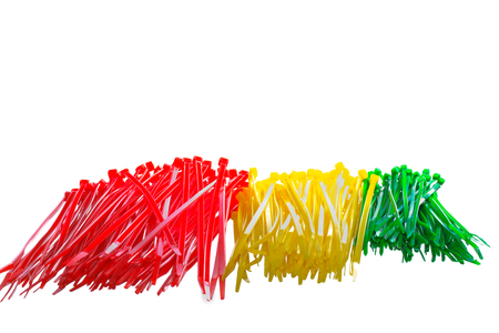 colored cable ties isolated against white background Stock Photo
