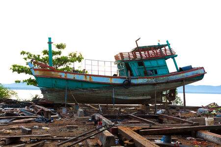 a ship in a shipyard for reparation  photo