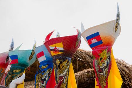 タイ マスク AEC 祭へ、北東タイのピピ-タ-コンケンの名前は 写真素材
