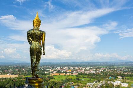 Scenery view golden Buddha,Nan Province,Thailand Stock Photo