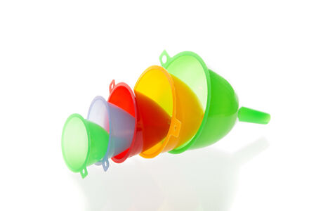 Multi color  funnel with a white background Stock Photo
