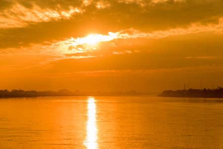 An image of a beautiful sunset at Mekong River