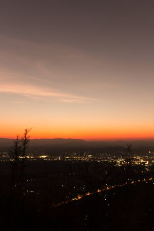 view point skyline on countryside  - Night city ,Loei province ,Thailand Stock Photo