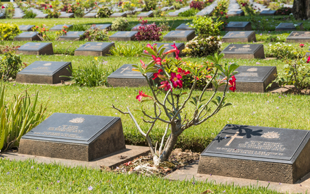tombstones: Tombstones lined up in the KANCHANABURI war cemetery. Editorial
