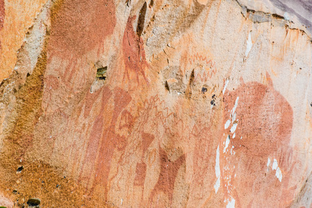 prehistoric age: Pha Taem National Park has been discovered ancient paintings prehistoric age of about 3,000-4,000 years ago in Ubon Ratchathani province,Thailand Stock Photo