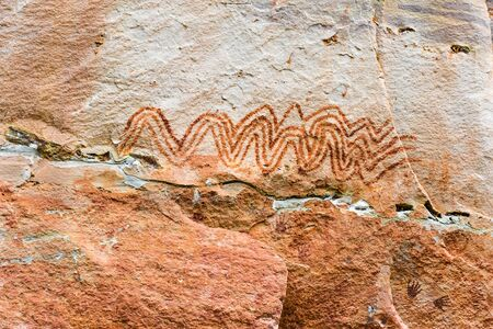 about age: Pha Taem National Park has been discovered ancient paintings prehistoric age of about 3,000-4,000 years ago in Ubon Ratchathani province,Thailand Stock Photo