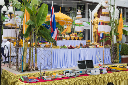 ancient yoga: LOEI  THAILAND - JUNE 2015 :In June every year is ceremony  worship Lord Vishnu , the God of education, knowledge and wisdom of Loei Technical College in Loei province ,Thailand on June 25, 2015