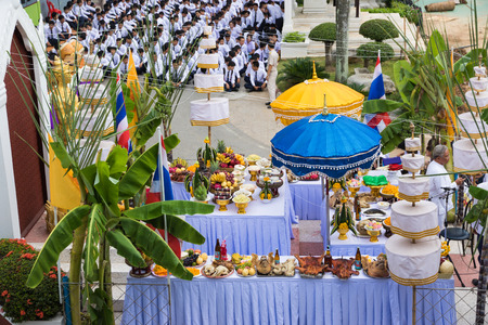 LOEI  THAILAND - JUNE 2015 :In June every year is ceremony  worship Lord Vishnu , the God of education, knowledge and wisdom of Loei Technical College in Loei province ,Thailand on June 25, 2015