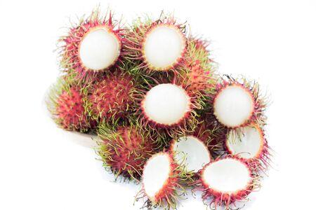 asian fruit rambutan  or  negrito   on white background Stock Photo