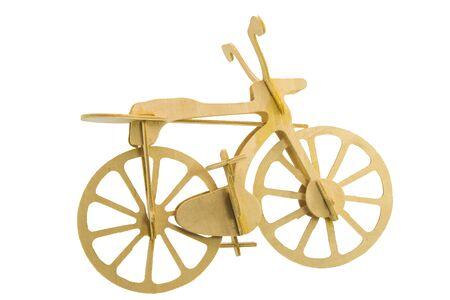 original bike: Bike models made of wood in side view of white background