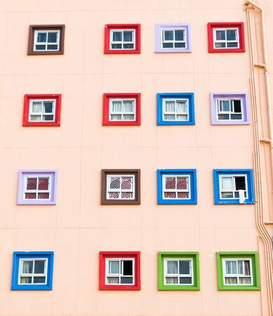 windows and doors: Colorful living - Thailand doors and windows Stock Photo