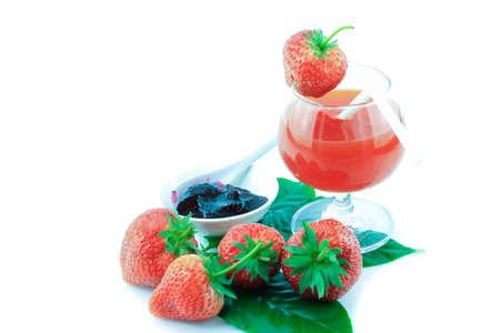 strawberrys: Fresh strawberry and Juice Strawberrys on white background Stock Photo