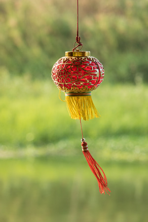 Chinese new year ornament on nature background Editorial