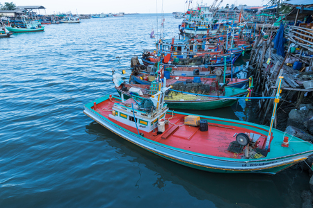 Industrial fishing. Fishing boats.Thailands fishing industry.