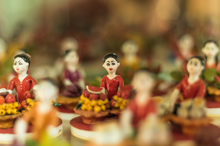 ANGTHONG, THAILAND - APRIL 16, 2016 Ban Bang Sadet Court Doll Centre ,Court Doll has its origins in the late reign of King Rama V. The sculpture is made of clay toys in the governors palace. on Apl 16,2016 in Ang Thong, Thailand.