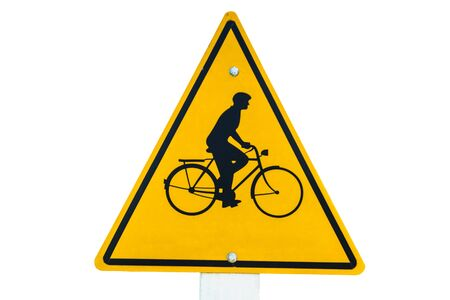 one lane road sign: Bicycle traffic sign in a traditional yellow triangle on white background Stock Photo