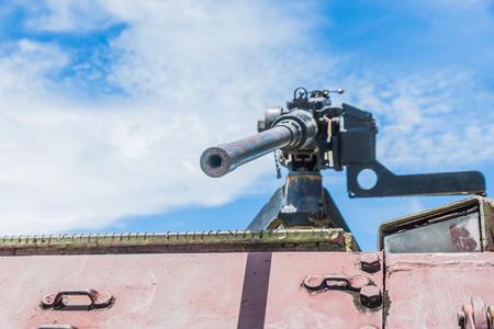 Light machine gun on the old tank. Stock Photo