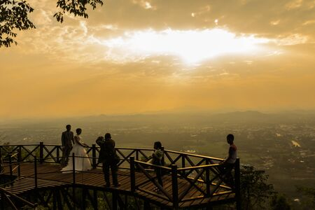 loei: Activity in silhouette  on Phu Bo-Bit viewpoint  in wild nature Loei province,Thailand