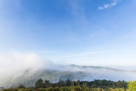 The morning sunrise and the mist are beauty on view point at Phuhinrongkla National Park  Phitsanulok, Thailand.
