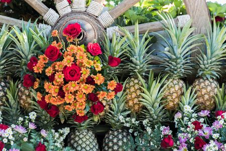 Old wooden cart full of flowers and pineapple in garden Stock Photo
