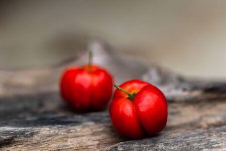 Ripe red cherries  on old wooden. fresh cherries. 写真素材