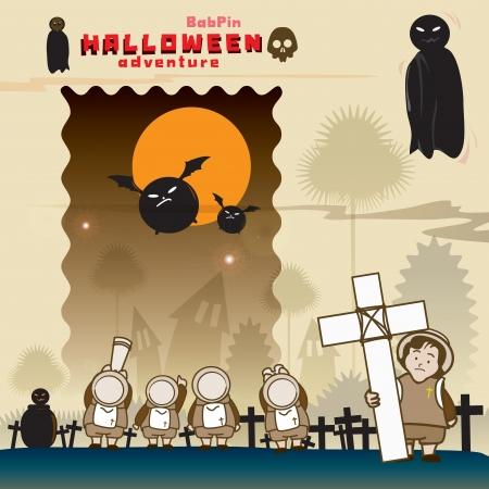 Haloween night season chill tour grave Stock Vector - 17505523