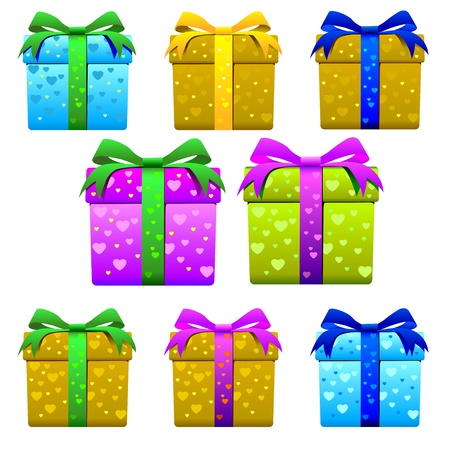 creche: heart gift box package for present season