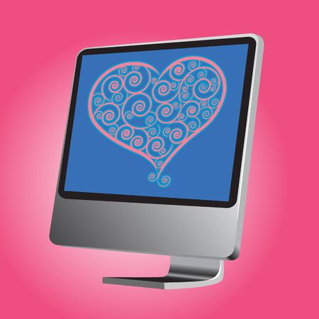 illustration present love on monitor and gradient color technique Illustration