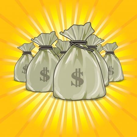 Vector bags of money  show a success  Ilustrace