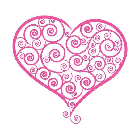 vector illustred EPS10 floral line heart for decorate valentine celebration Stock Vector - 17592144