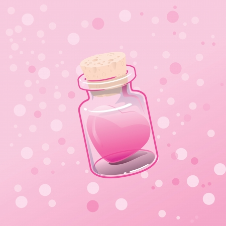 vector illustrated EPS10 present gift heart in the bottle